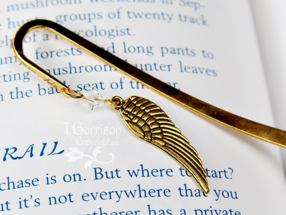 Gold angel wing bookmark with Swarovski crystal in birthstone colors -Free Shipping USA