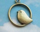 SALE - 10 sparrow in hoop pendants, bronze tone, 25mm