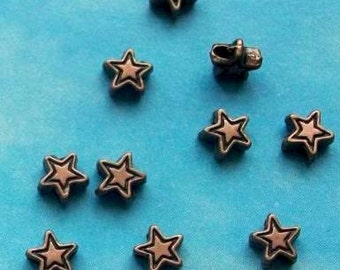 100 very tiny star beads, etched outline, dark brass or copper, 5mm
