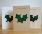 Christmas Card - Holly - Yule - Solstice - Wool Felt - Decoration