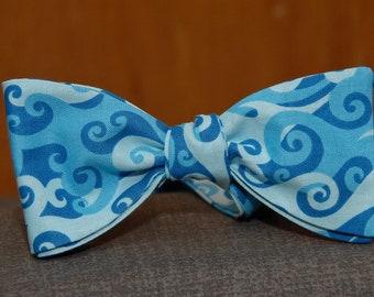 Oceanic Waves in Blue  Bow tie