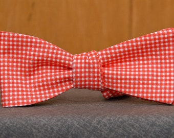 Peachy Mini Gingham  Bow Tie