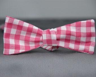 Bubblegum Gingham  Bow Tie