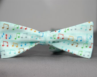 Fun Music Notes on Green  Bow Tie