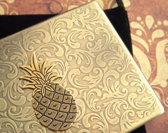 Pineapple Cigarette Case Oversized Business Card Holder Gothic Victorian Steampunk Vintage Inspired Antiqued Gold Brass Tone Metal Wallet