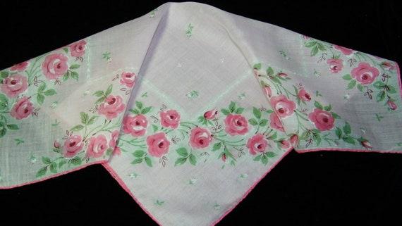 "Vintage 16"" Handrolled Pink Roses Floral Blank Center Handkerchief, 7507"