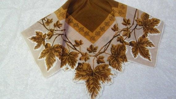 "Vintage 15"" Scalloped Linen Fall Autumn Leaves Floral Blank Center Screenprinting Handkerchief, 7804"