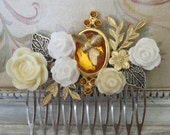 Assemblage Cluster Honey Bee HAIR COMB Vintage Jewelry Romantic Style OOAK