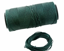 Moss Green: Waxed Polyester Cord, ~1mm Macrame Cord, pack of 25ft (8.33 yards) / Hilo Encerado, Linha Encerada, Waxed Polyester Thread