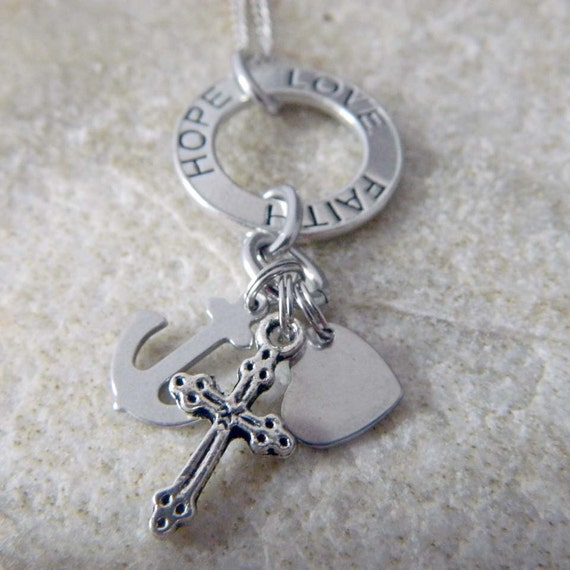 Faith hope love necklace by wirenwhimsy on etsy for Faith hope love jewelry