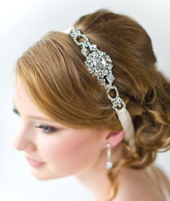 Bridal Ribbon Headband Luxe Satin Ribbon Headband Wedding