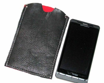 Black Leather Cell Phone iPhone Case Free Shipping Felt Lining Handmade