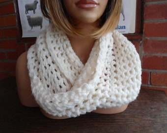 natural cream aran wool crochet cowl snood by irish granny