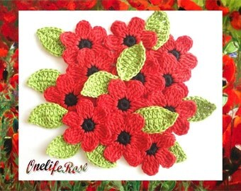 Crochet Flowers 12 pieces with 12 leaves