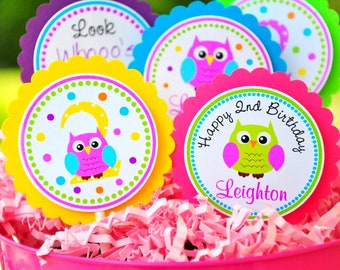 Owl Cupcake Toppers, Little Owl Birthday Party - Set of 12