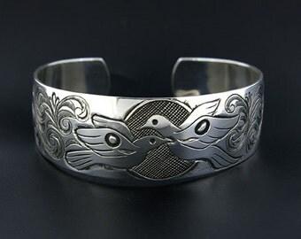 Northwest Coast Native Doves Silver Bracelet First Nations 'Love Birds'