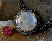 Rainbow moonstone necklace darkened sterling silver draping chain 14k gold pink tourmaline dangle  Reserved For S.