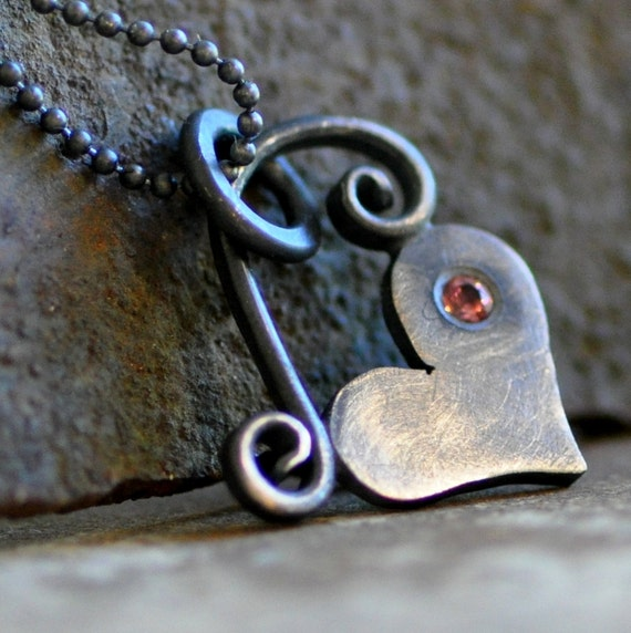 little black heart   oxidized sterling silver heart pendant with pink tourmaline