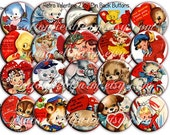 Vintage Valentines 2.25 inch Pinback Buttons Set of 12 Your Choice