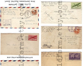 WW2 Letters from Servicemen Envelopes, Air Mail, 1940s  C-330 Digital Collage, Tags, Scrapbooking for Personal and Commercial Use