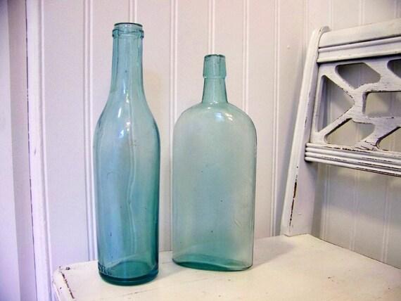 vintage aqua bottles - set of 2- instant collection - aquamarine - ocean - glass