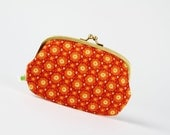 Metal frame purse with two sections - Blooms in sunset - big siamese / Rust orange / Harvest colors / floral pattern
