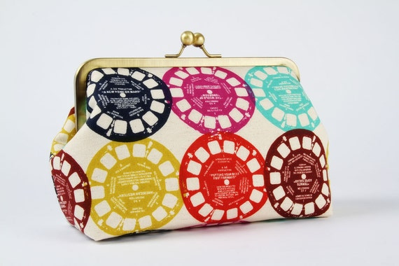 Cosmetic pouch - Colorful viewfinders - metal frame clutch bag