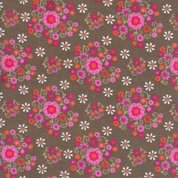 Happy Together CORDUROY Swirly Bouquets Cocoa Brown Fabric by Timeless Treasures - 1 yard