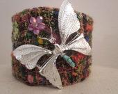 Tweed Cuff Bracelet,Vintage Butterfly Bracelet, Tweed Cuff with Vintage Butterfly,OOAK