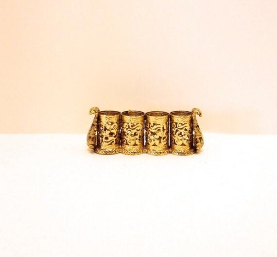 Vintage Stylebuilt New York Vanity Accessories Lipstick Caddy 24K Gold Plated Hollywood Regency