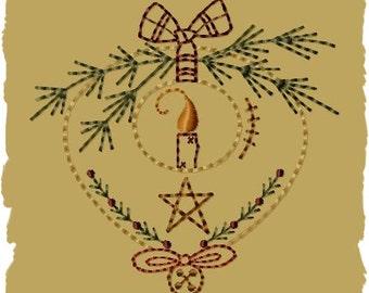 Prim Candle Ornament-Version 2-4x4--INSTANT DOWNLOAD