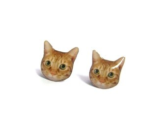 Orange White Cat Kitten Stud Earrings / Orange cat / cat earrings / cat jewelry / kitten lover / tabby cat / faz jewelry / gift /A025ER-C05