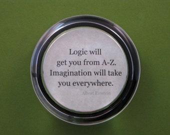 """Albert Einstein """"Logic"""" Quotation Round Glass Paperweight Inspirational Quote Graduation Keepsake"""
