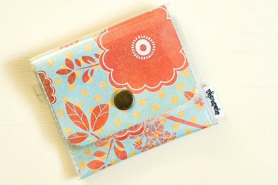 Vintage Red Floral Change Purse - Vinyl Wallet