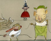 Fabulous Tricks With String / 11 x 14 Matted Archival Print / Whimsical / Fantastical / Playful / Reduced