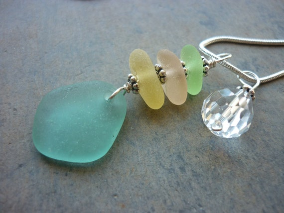 Sea Glass Necklace - Teal Blue Pink and Yellow Beach Seaglass Pendant