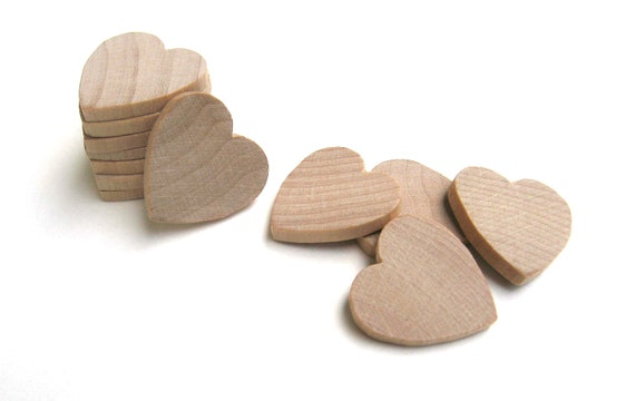 "50 - 1"" Unfinished Wooden Hearts - 1 Inch (25 mm) - Wood Hearts Perfect for Weddings"