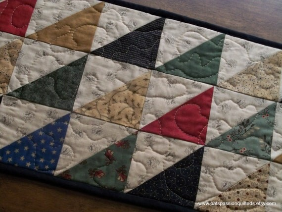 Scrappy Quilted Table Runner Primitive