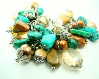 Turquoise cha cha bracelet, chunky turquoise charm bracelet, gold pearl statement
