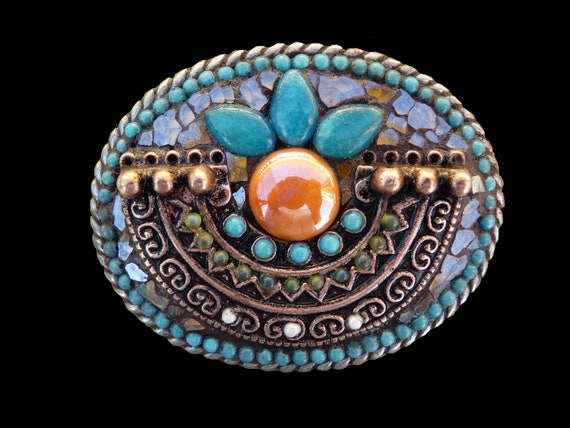 Southwestern Aztec Copper and Apatite Mosaic Belt Buckle