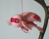 the little superhero - baby pink and shocking pink (decorative plush toy ornament)