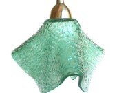 Seafoam Green Textured Glass Ceiling Pendant Light Fixture