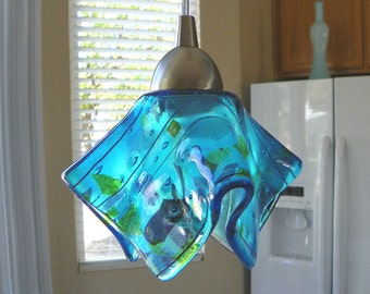 Blue Confetti Art Glass Pendant Light l Kitchen Island Lighting