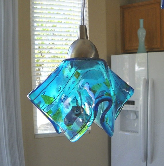 Blue Confetti Art Glass Pendant Light L Kitchen Island