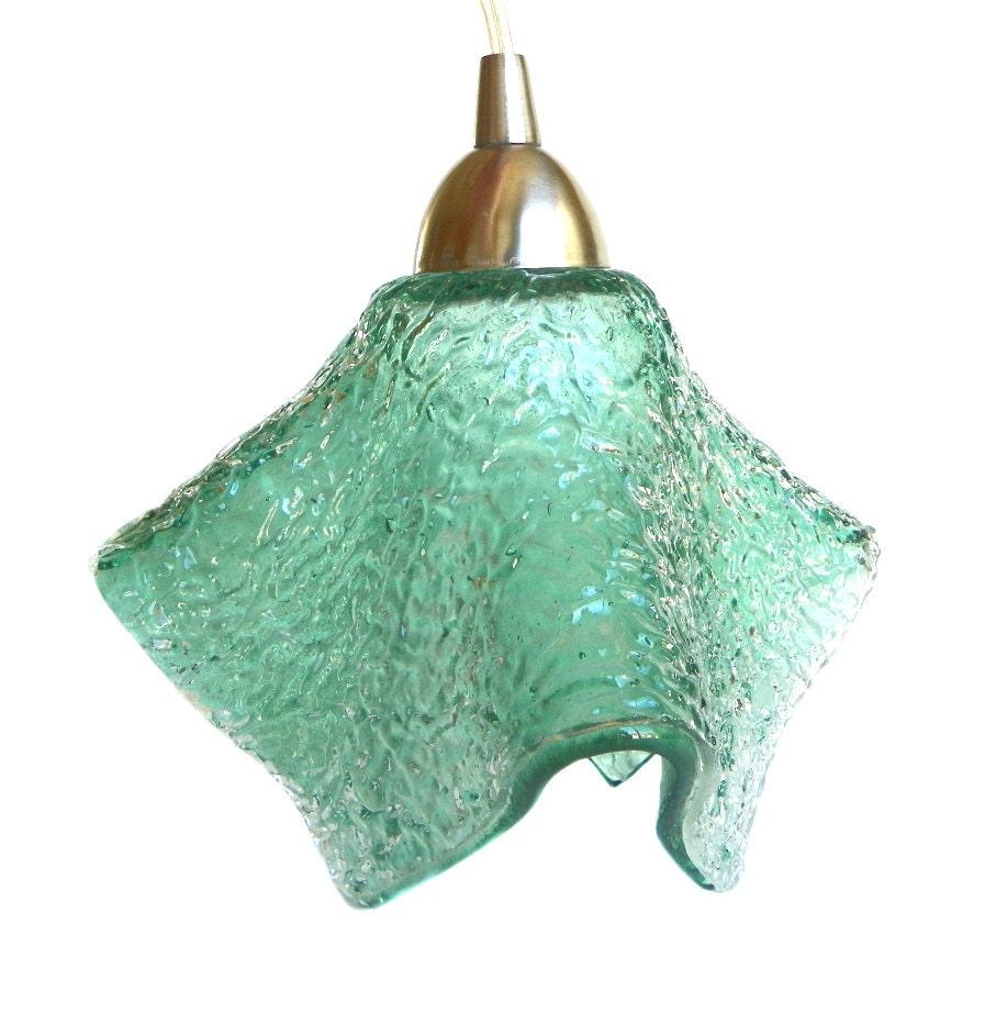 Seafoam Green Textured Glass Ceiling Pendant Light Fixture