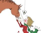 "Under the Mistletoe.  Christmas horse art print.  8"" x 10"""