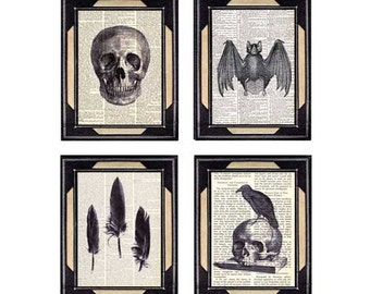 Skull, Crow Feathers, Raven on Skull, Vampire Bat, GOTH 4 art prints Spooky Horror Massacre Murder Kill on dictionary book page 8x10, 5x7