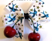 Swallow and Nautical Star Tattoo Print hair bow with realistic lifelike juicy cherries by Dolly Cool