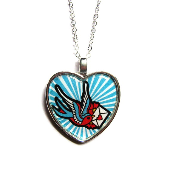 Real Metal Heart Tattoos Tattoo necklace with swallowReal Metal Heart Tattoos