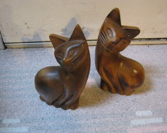 Mid century retro sleek wood kitten pair